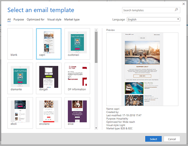 Dynamics for Marketing: email