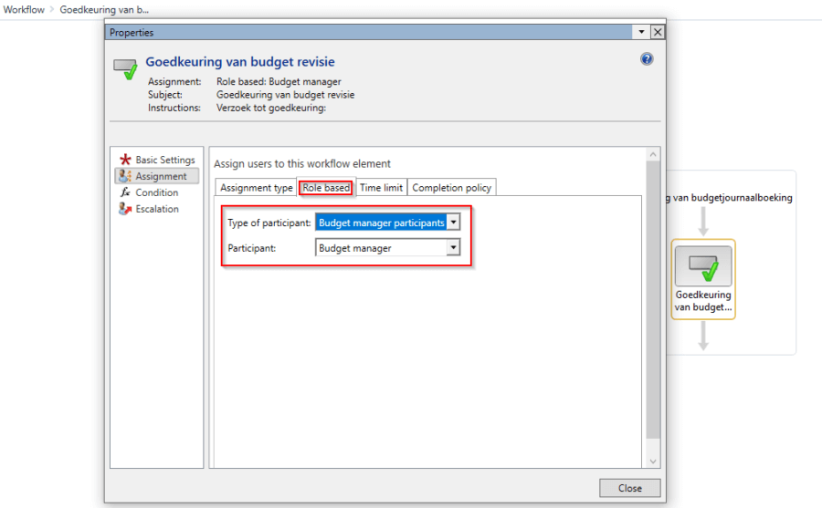Workflow Budgeting - Select type participant
